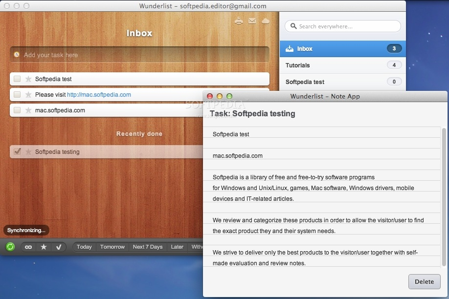Wunderlist screenshot 2 - You can also add notes to each to-do in your list.