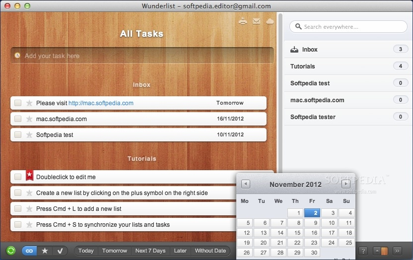 Wunderlist screenshot 3 - The calendar allows you to set the date for each task.